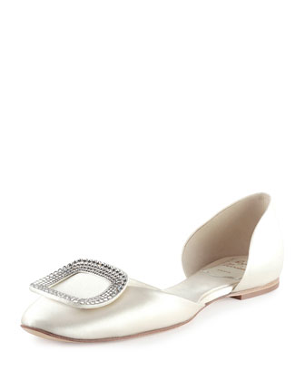 Satin Chips d'Orsay Flat, White