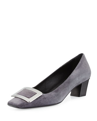 Decollete Belle Suede Pump, Gray