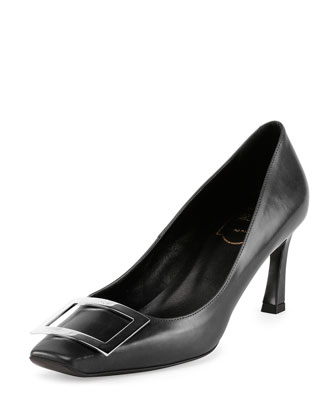 Belle Vivier Leather Buckle Pump, Black