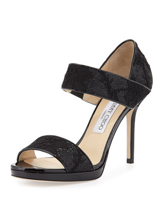 Alana Double-Band Glitter Lace Sandal, Black