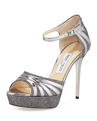 Deema Platform Glitter Sandal, Pewter