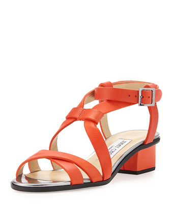 Mitsu Low-Heel Leather Sandal, Fire