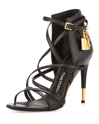 Leather Ankle-Wrap Padlock Sandal, Black