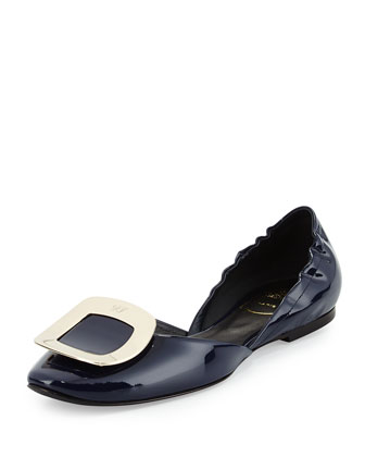 Ballerine Chips Patent Leather d'Orsay Flat, Navy