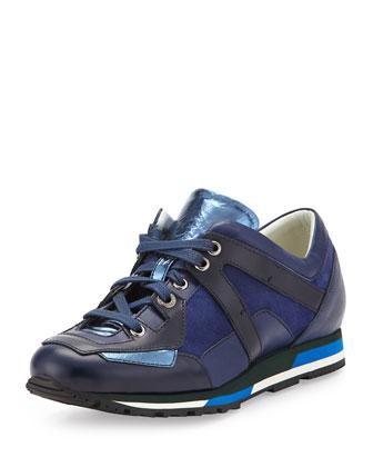 Leather Runner Sneaker, Blue