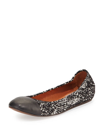 Cap-Toe Printed Ballet Flat, White/Black