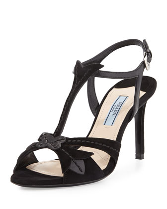 Topstitched Strappy Suede Sandal, Black (Nero)