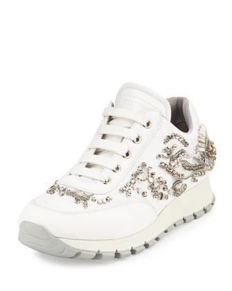 Swarovski?? Crystal-Embellished Trainer, White (Bianco)