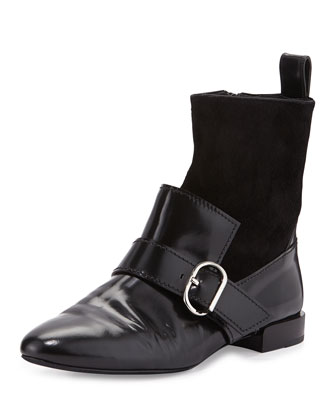 Louie Leather Loafer Boot, Black