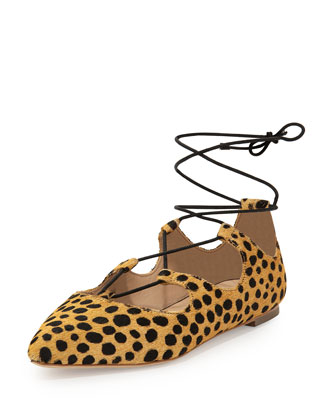 Ambra Calf-Hair Lace-Up Ballerina Flat, Cheetah