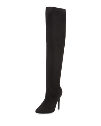 Jenna Faux-Suede Stretch Boot, Black