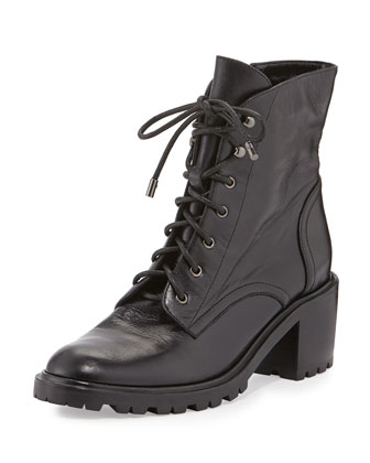 Bridgette Leather Combat Boot, Black