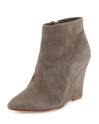 Jalena Pointed-Toe Wedge Bootie, Cinder