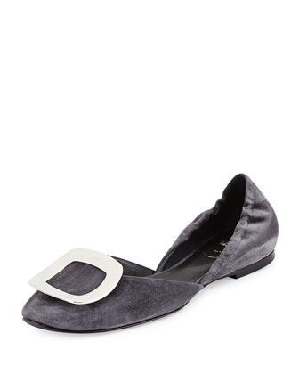 Ballerine Chips Suede d'Orsay Flat, Gray