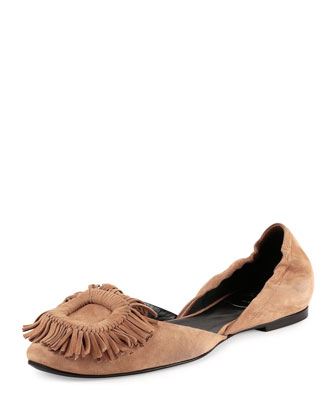Ballerine Chips Fringe-Buckle Flat, Light Tobacco