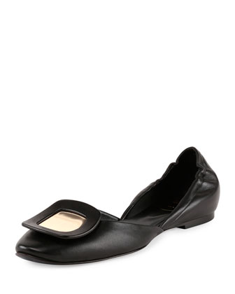 Ballerine Chips Metallic-Buckle Flat, Black/Golden