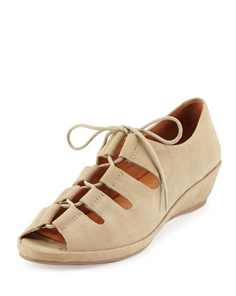 Valley Lilly Lace-Up Wedge, Dark Taupe