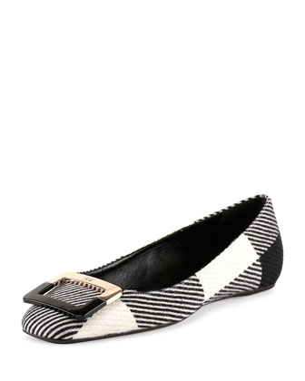 Ballerine U-Look Colorblock Wool Flat, Black/White