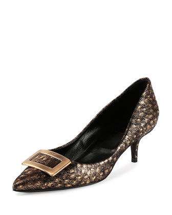 Decollette Privilege Ostrich Leather Pump, Gold/Black