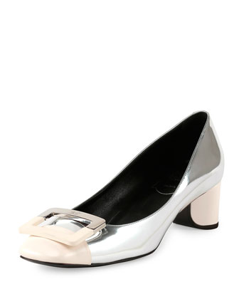 Decollette U-Cut Low-Heel Pump, Silver/White