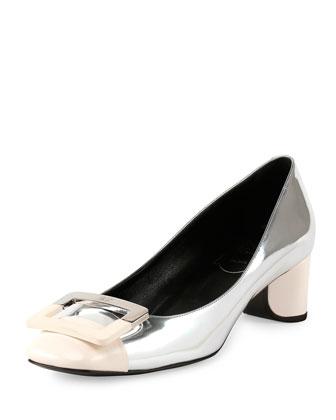 Decollette U-Cut Low-Heel Pump, Silver/White
