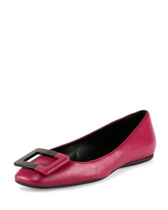 Leather Ballerine Buckle Flat, Light Bordeaux