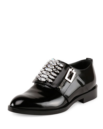 Patent Leather Zip Oxford, Black