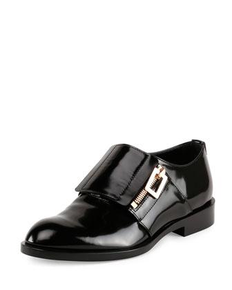 Crystal-Embellished Patent Leather Oxford, Black