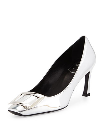 Metallic Belle Vivier Pump, Silver