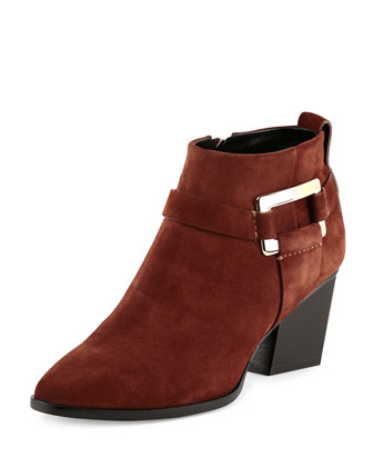 Skyscraper Suede Buckle Bootie, Brown