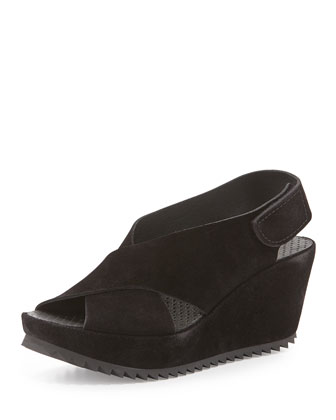 Federica Suede Wedge Sandal, Black