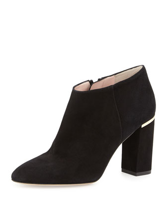 darota suede ankle bootie, black