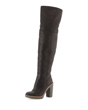 Gabry Leather Over-the-Knee Boot, Black