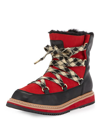 samira lace-up leather boot, ivory/black/red