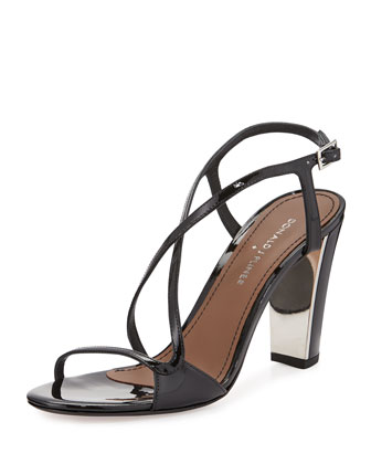 Arena Patent Leather Sandal, Black