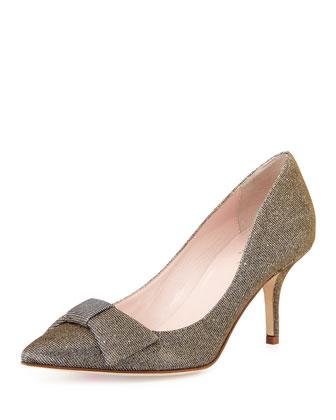 juliette shimmer mid-heel pump, bronze