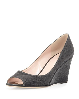 radiant sparkly wedge pump, black
