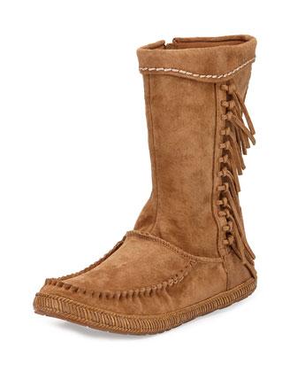 Hyland Mid-Calf Fringe Boot, Chestnut