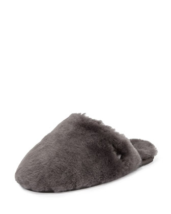 Fluff Shearling Clog Slipper, Gray