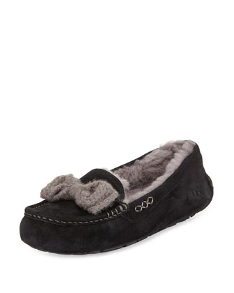 Ansley Knit-Bow Suede Slipper