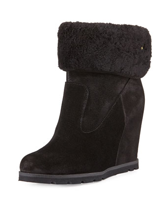 Kyra Shearling Wedge Bootie