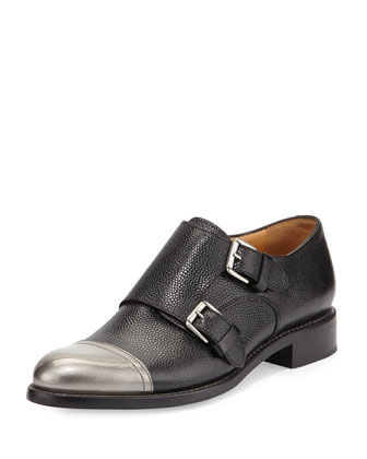 Mr. Colin Double-Monk Cap-Toe Loafer, Tumbled Black