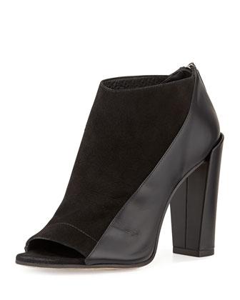 Bayard Peep-Toe Ankle Bootie, Black