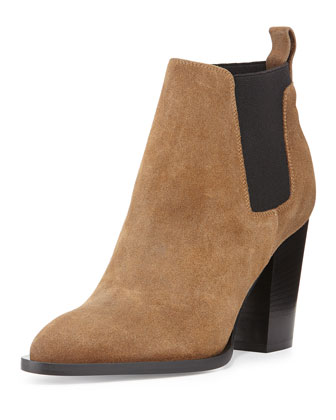 Edith Suede Pull-On Bootie, Rattan