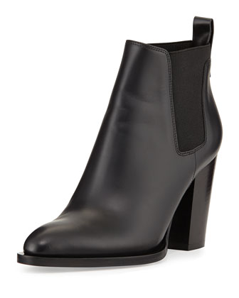 Edith Leather Pull-On Bootie, Black