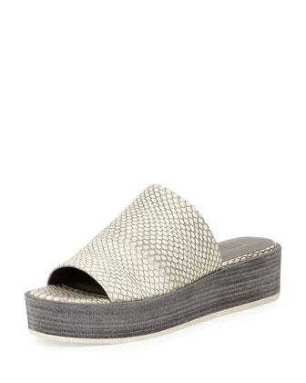 Saskia Platform Wedge Sandal, Charcoal/White