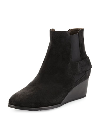 Oddly Suede Wedge Bootie, Hammer Black
