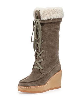 Taama Fur-Lined Wedge Boot, Elefante