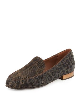 Elana Leopard Glitter Loafer, Bronze/Dark Brown