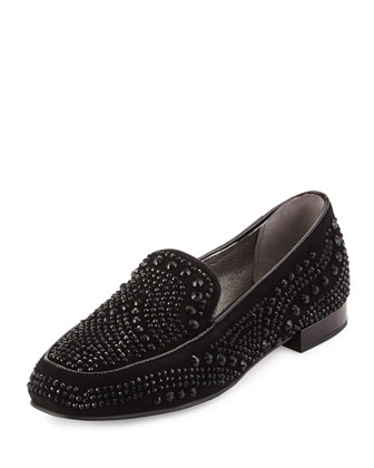 Elanasp Embellished Suede Loafer, Black